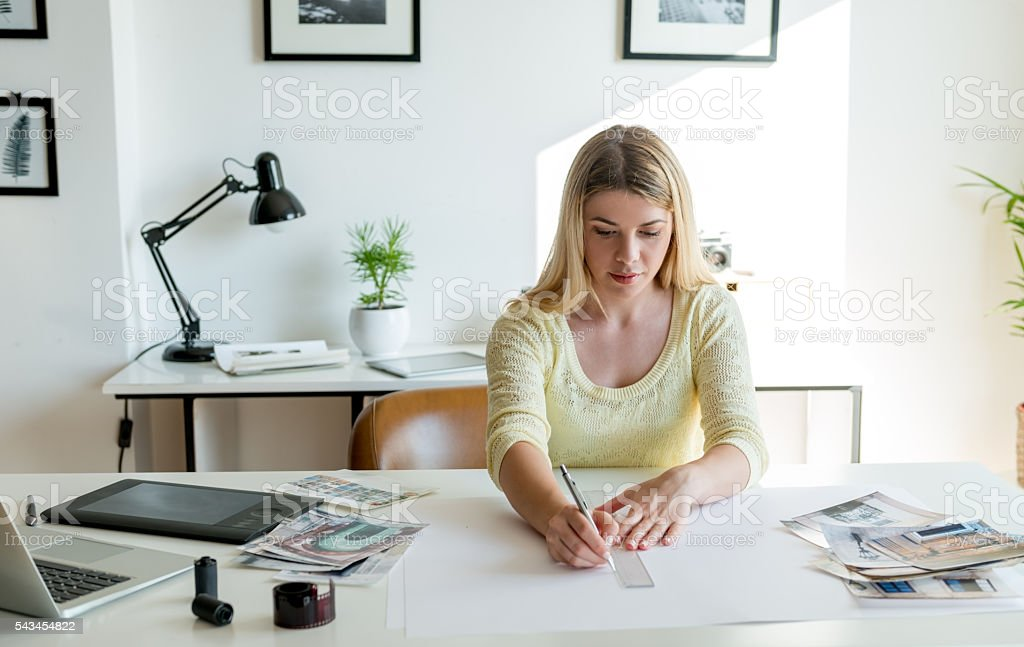 Working on new design stock photo