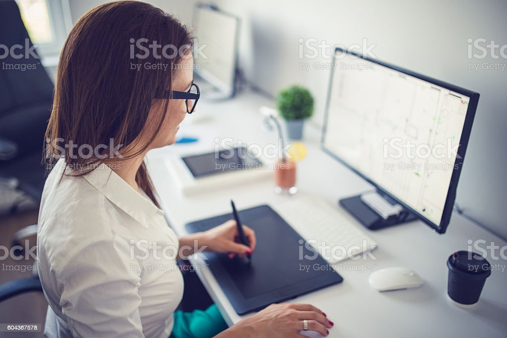Working on new project stock photo