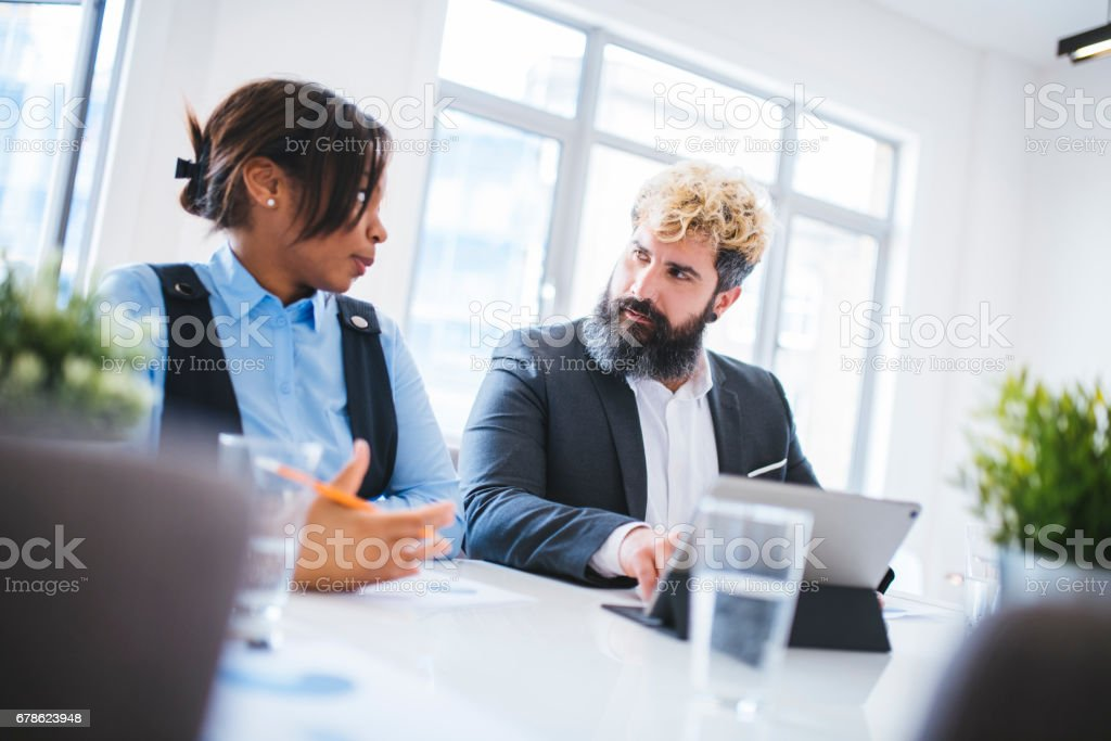 Working on presentation together stock photo
