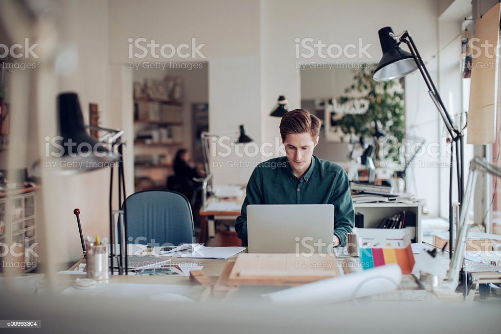 Working on project stock photo