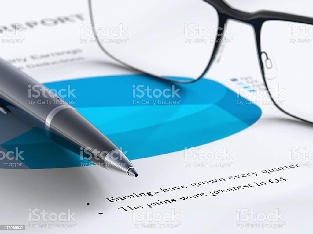 Working on Report stock photo