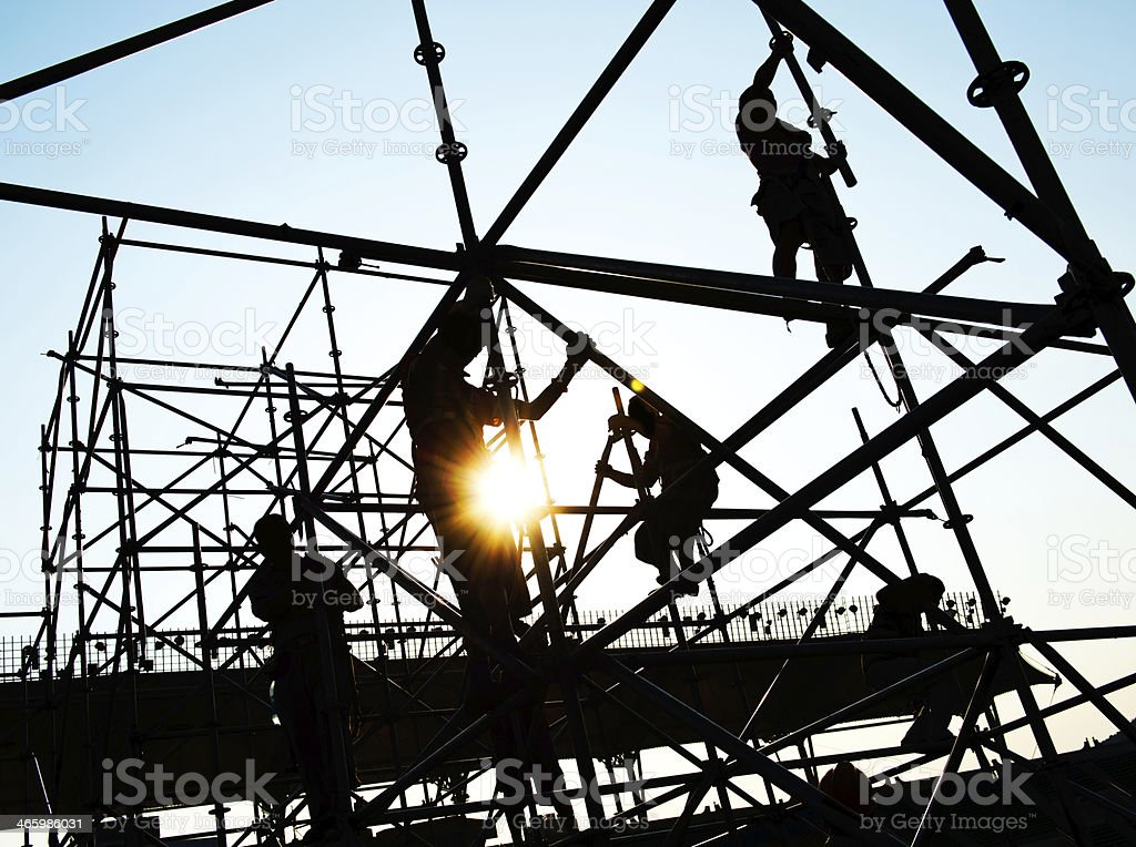 working on scaffolding stock photo