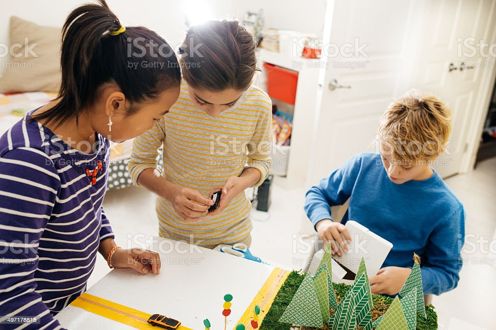 Working on school project stock photo