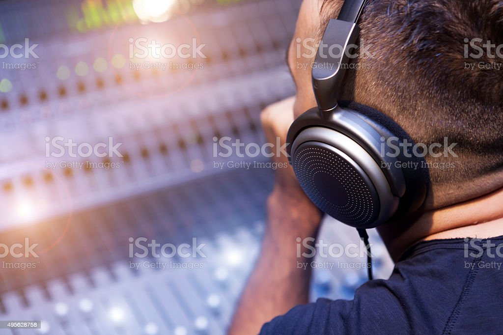 Working On Sound Mixer stock photo