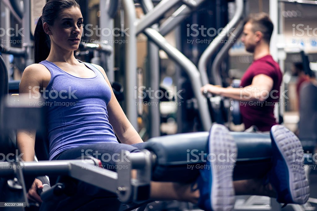 Working on strengthening those muscles stock photo