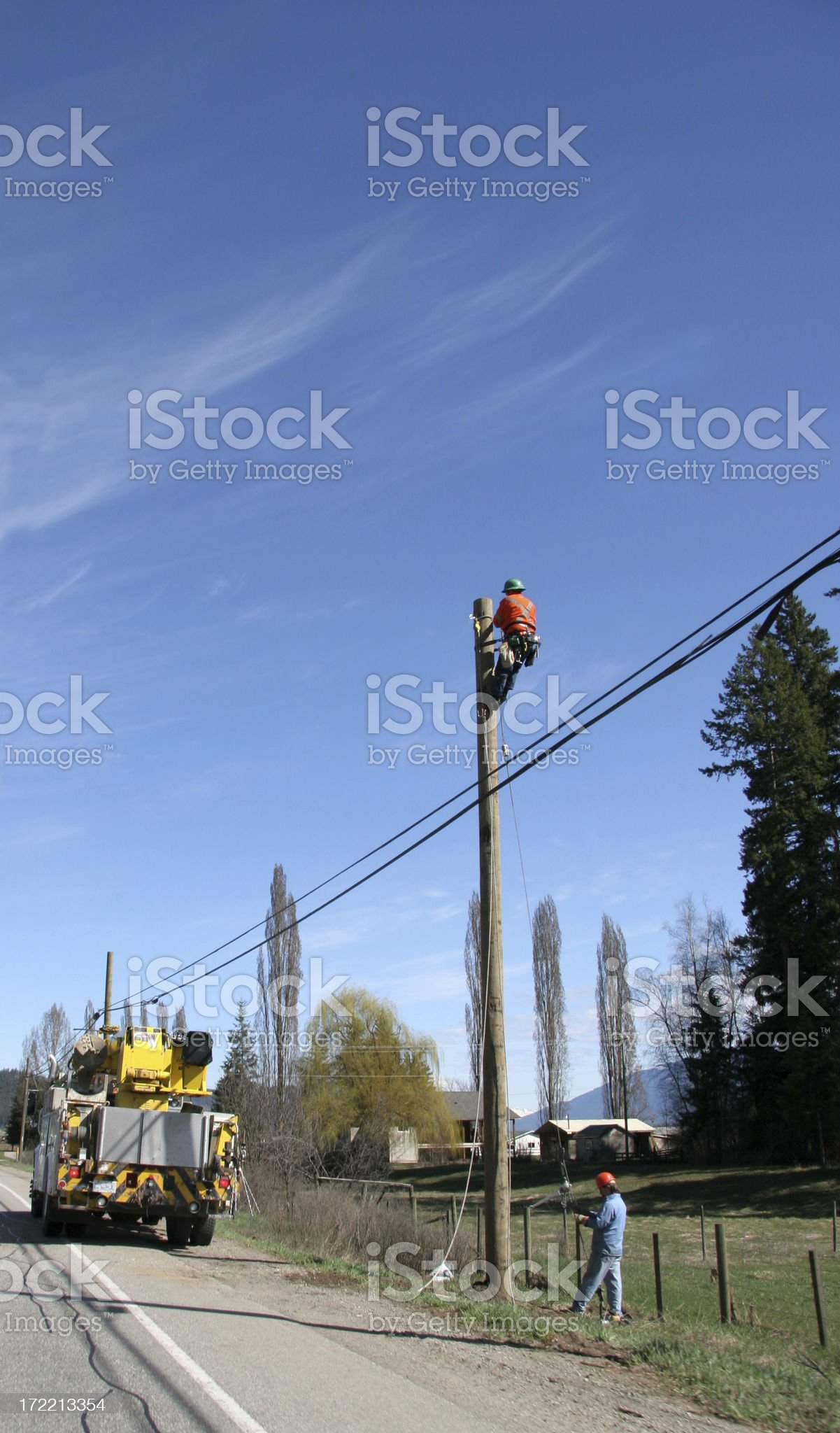 Working On The Powerlines royalty-free stock photo