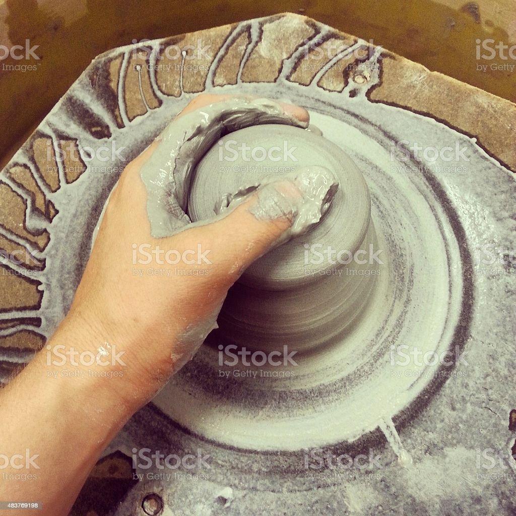 Working on the wheel stock photo