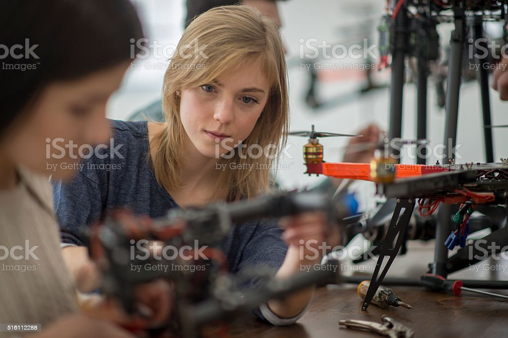 Working on the Wing of the Drone stock photo