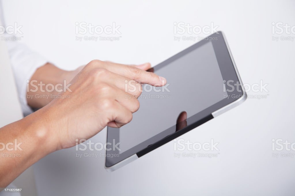 Working on Touch Screen Tablet royalty-free stock photo