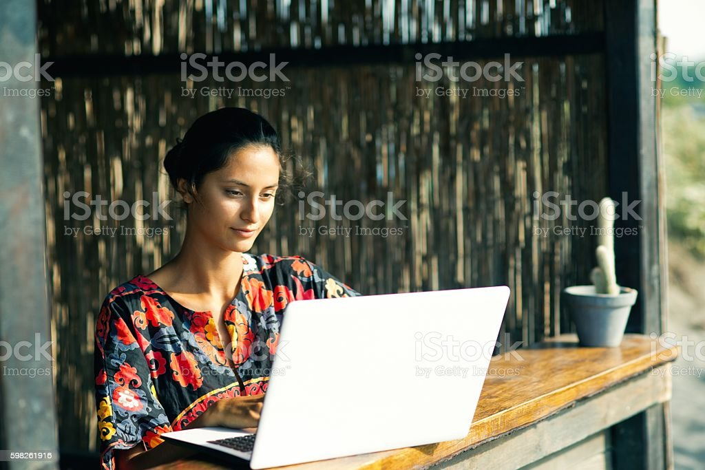 Working on vacation. stock photo
