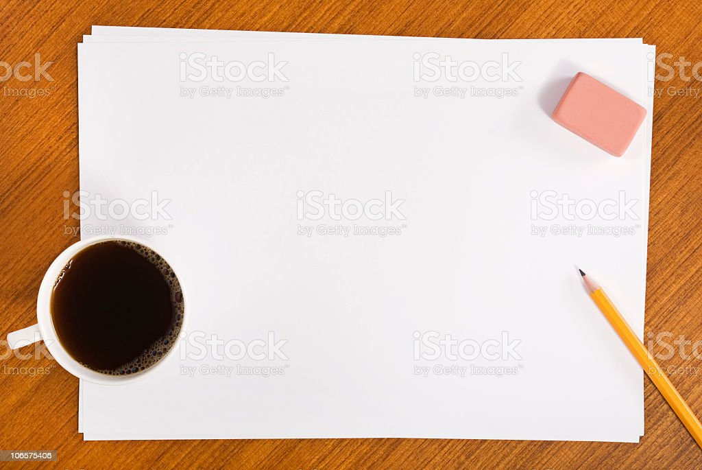 Working On Wooden Table royalty-free stock photo