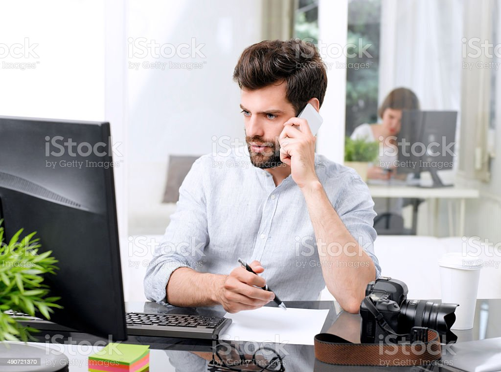 Working online stock photo