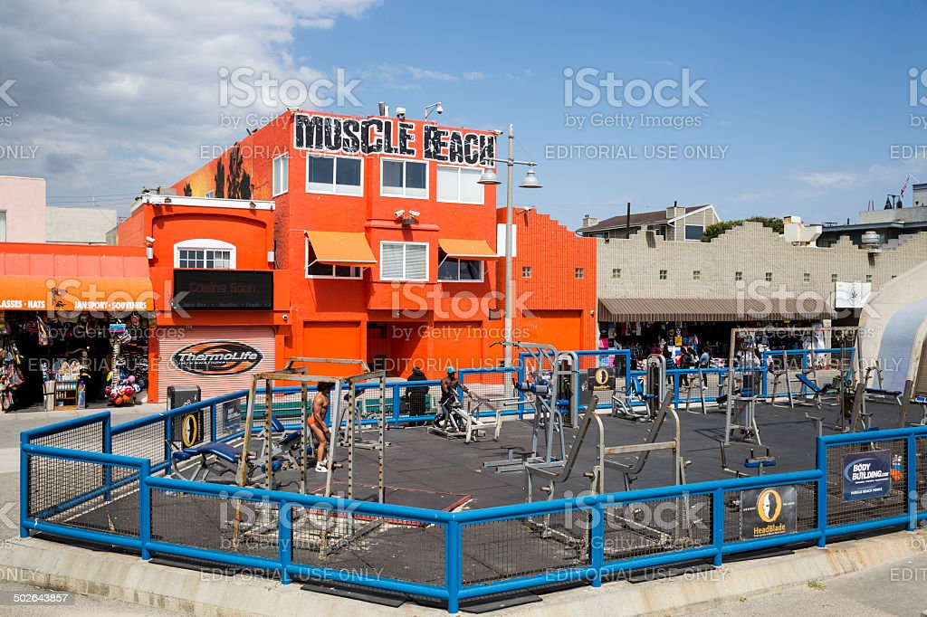 Working Out at Muscle Beach stock photo