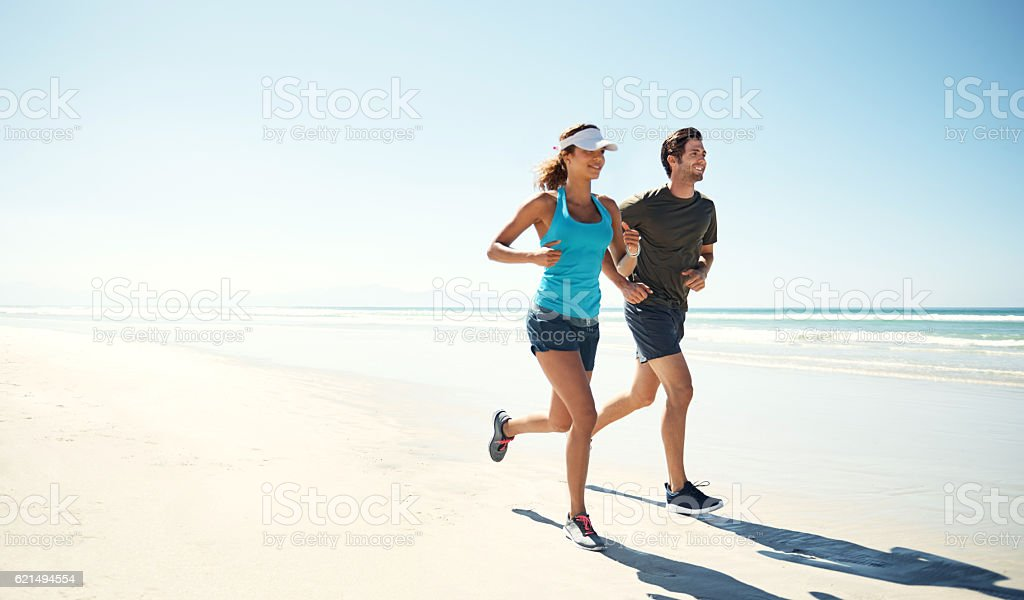 Working out by the ocean stock photo