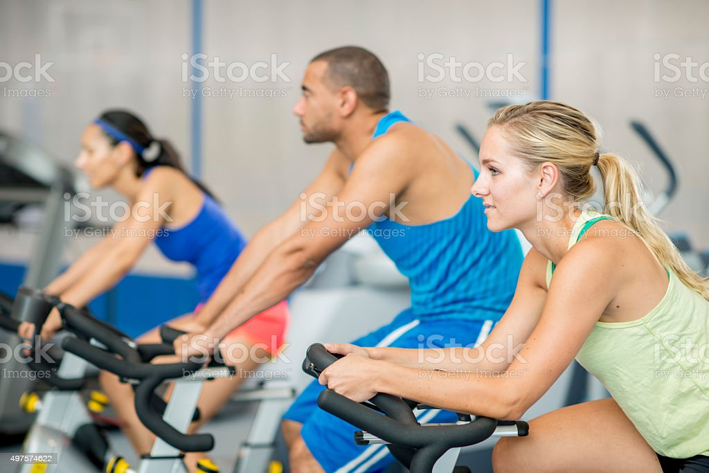 Working Out in a Spin Class stock photo