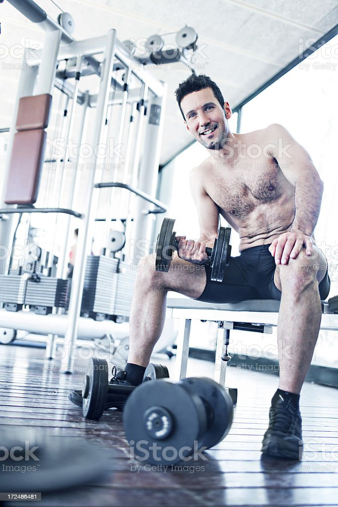 Working out weights royalty-free stock photo