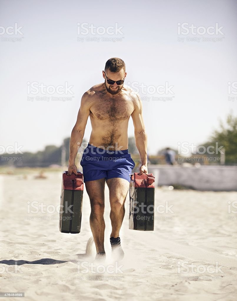 Working Out with Jerrycans stock photo