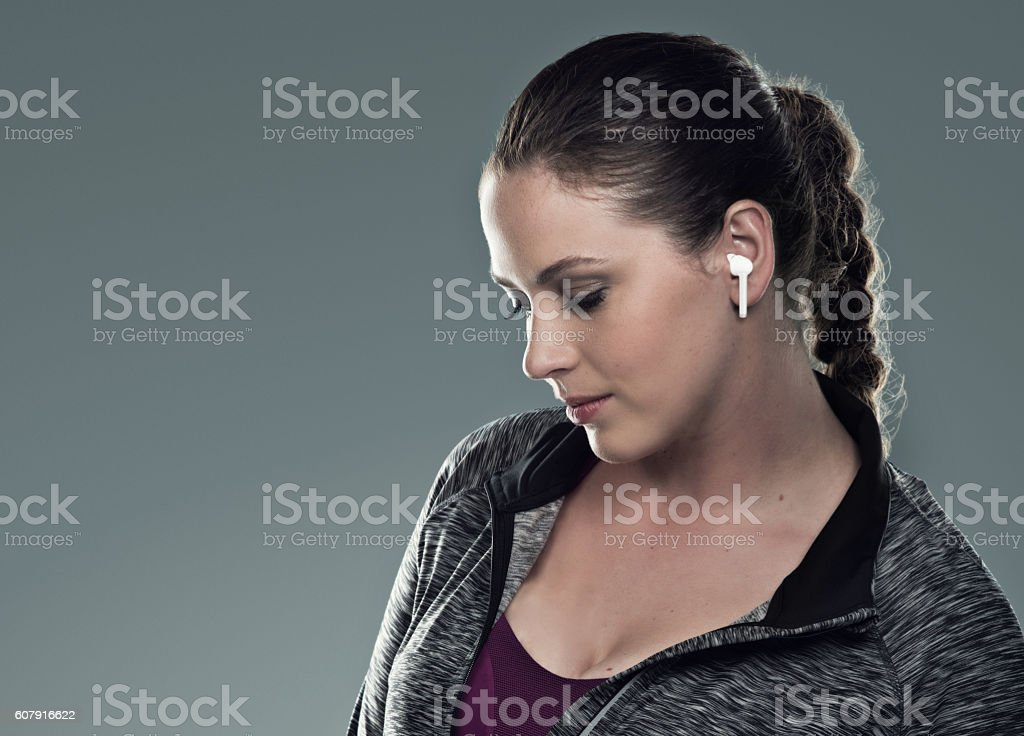 Working out with no wires getting in the way stock photo