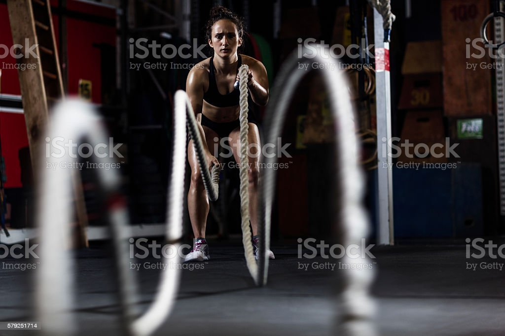 Working out with ropes stock photo