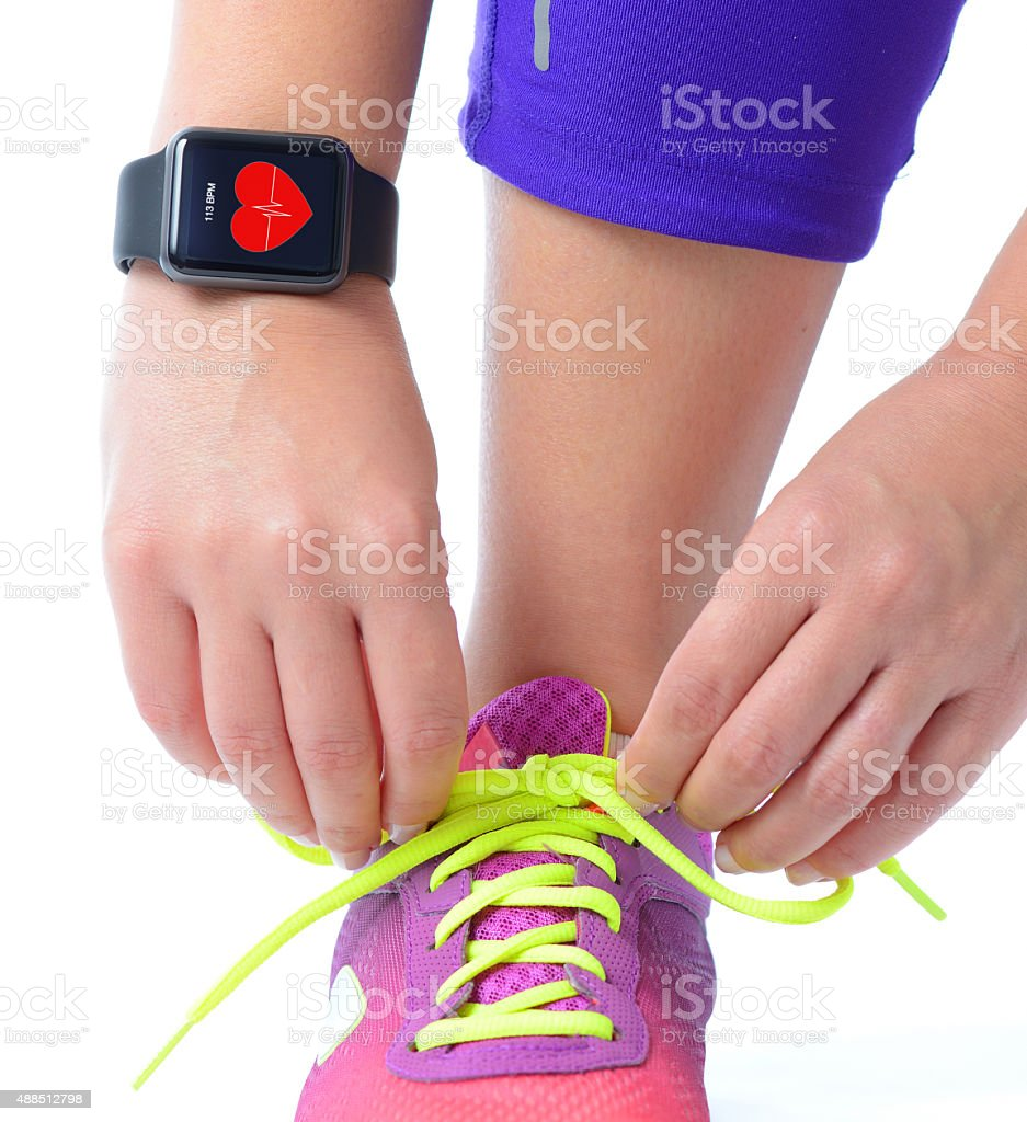 Working out with smart watch stock photo