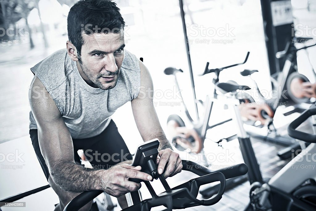 Working out with the bicycle stock photo