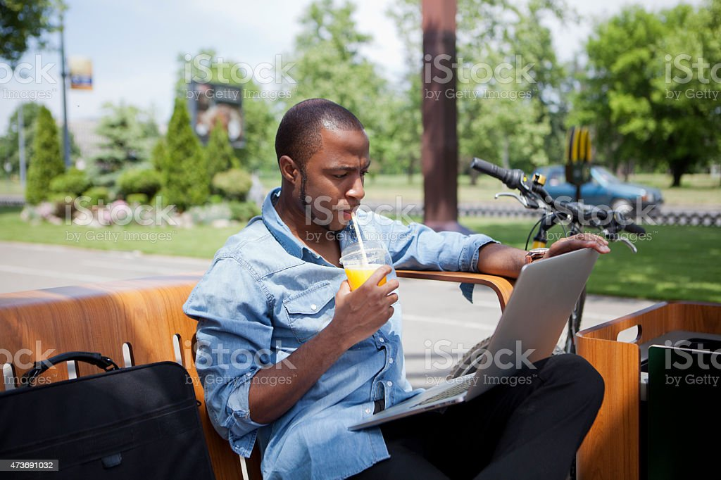 Working Outdoors stock photo