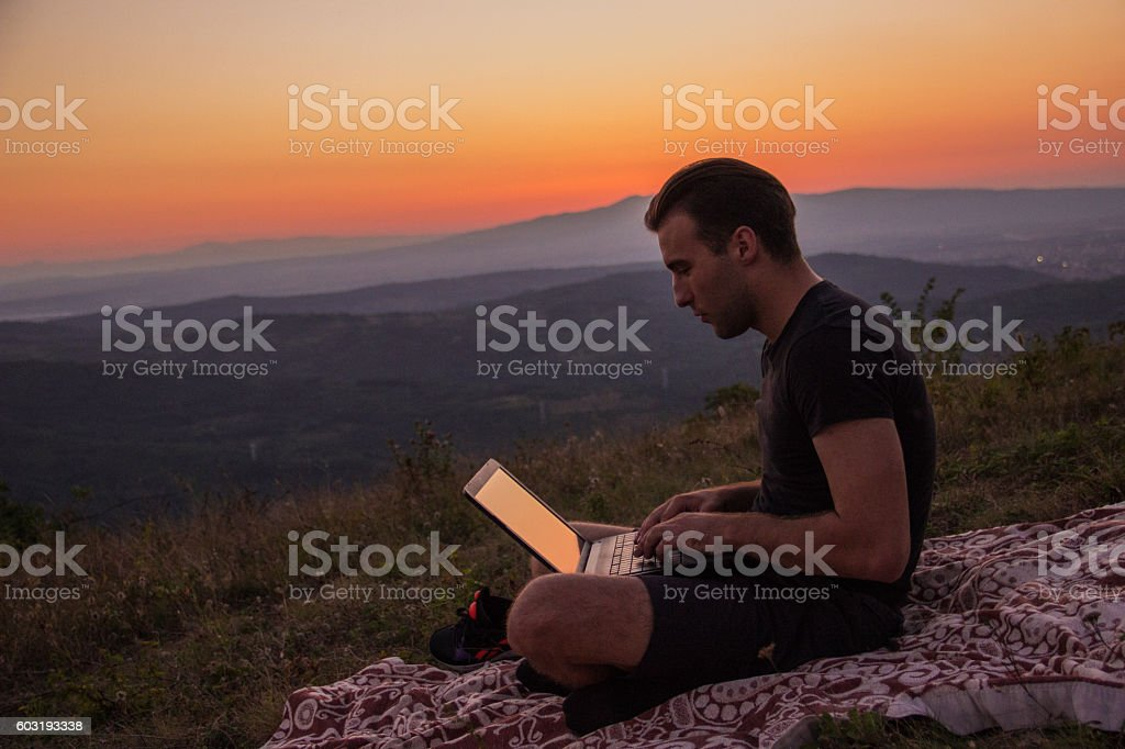 Working outdoors royalty-free stock photo