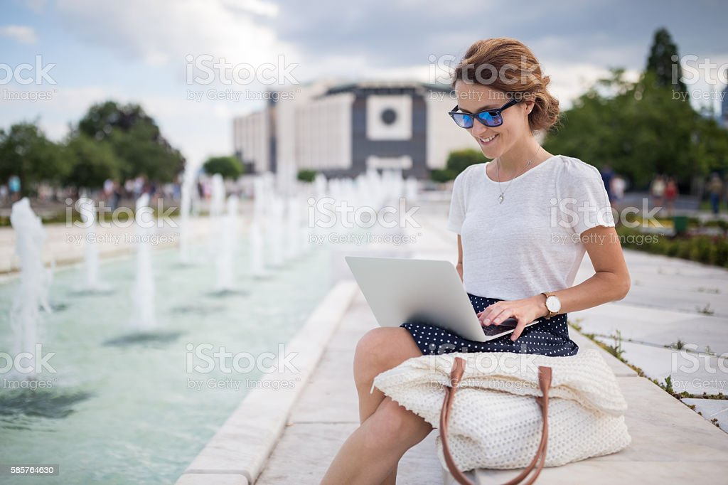 Working outside is fun ! stock photo