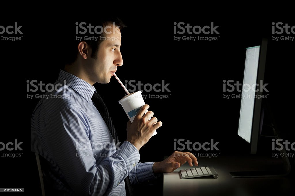 Working overnight stock photo
