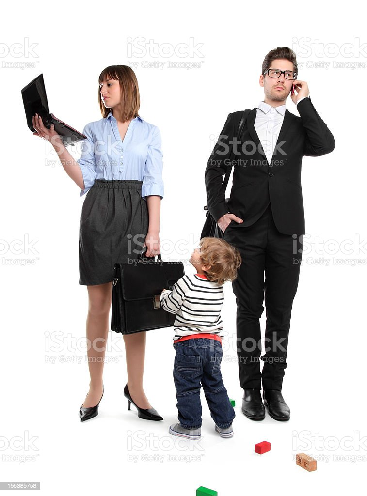Working Parents - But Mom? I want to play! stock photo