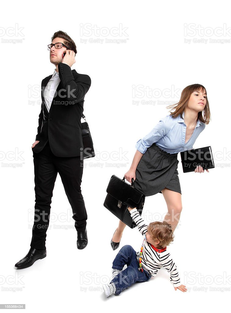 Working Parents - In a Rush! royalty-free stock photo