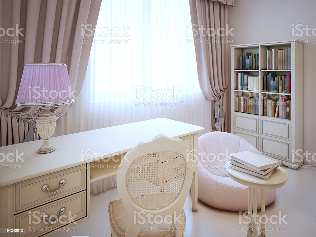 Working place in girl bedroom stock photo