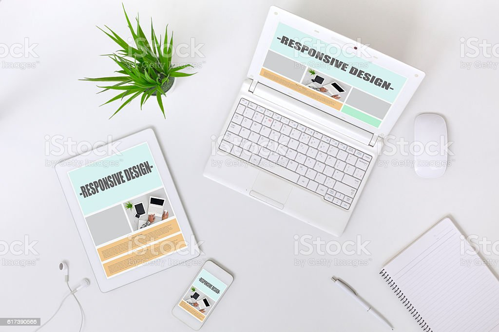 Working Place of web Designer on white Table top View stock photo