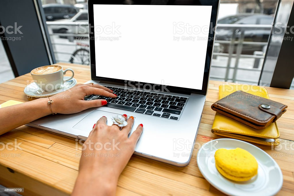Working place with laptop stock photo
