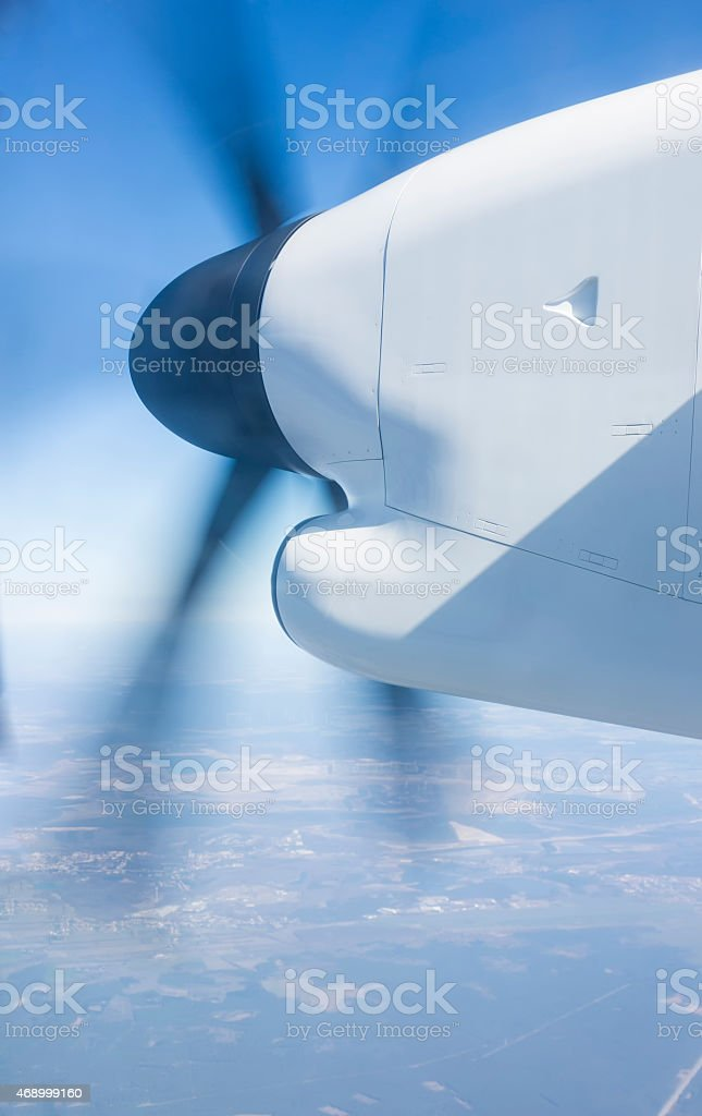 working propeller at take-off stock photo