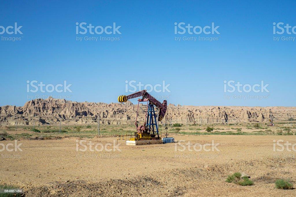 Working pumping units on gobi desert stock photo