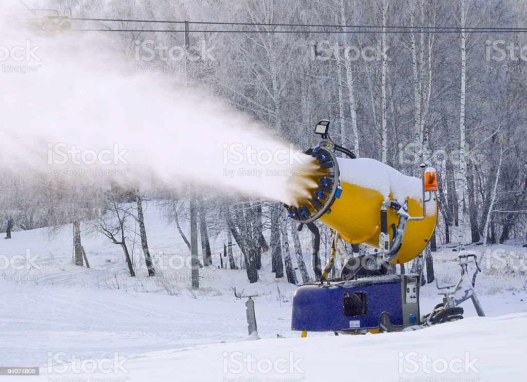 Working snowgun stock photo