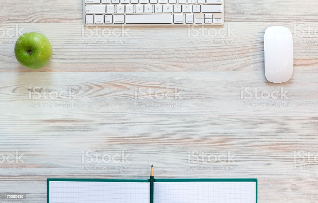 Working space in grey-green stock photo