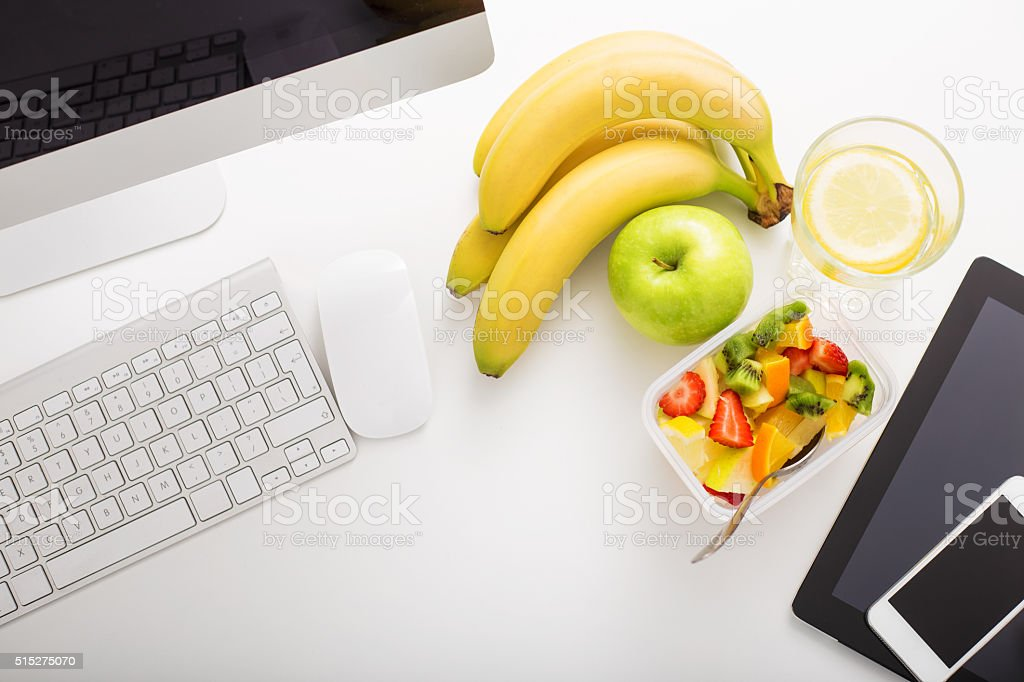 Working space in office and modern technology stock photo