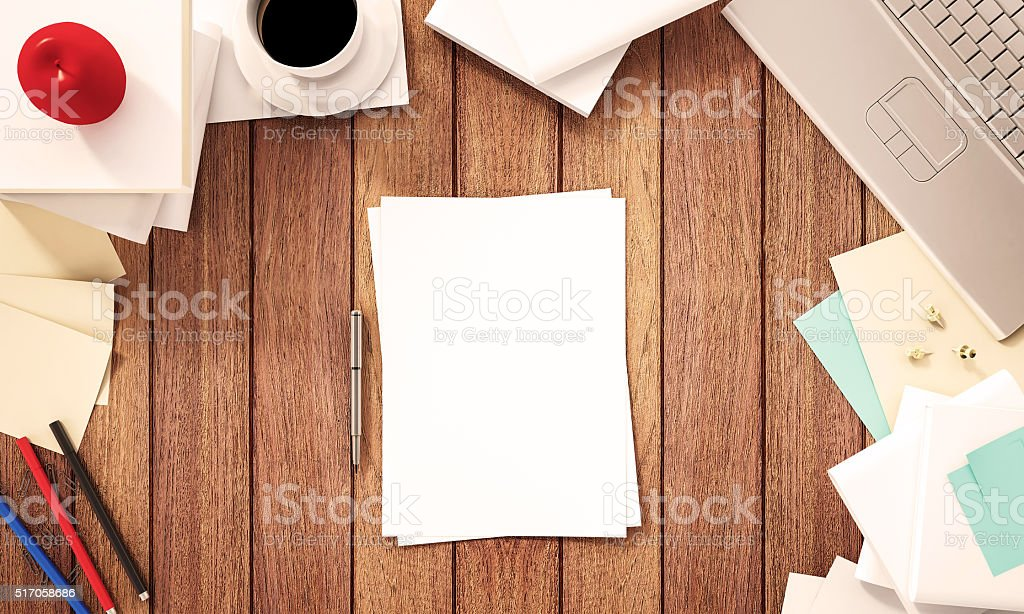 Working space, wooden desk with supplies, 3d rendered stock photo