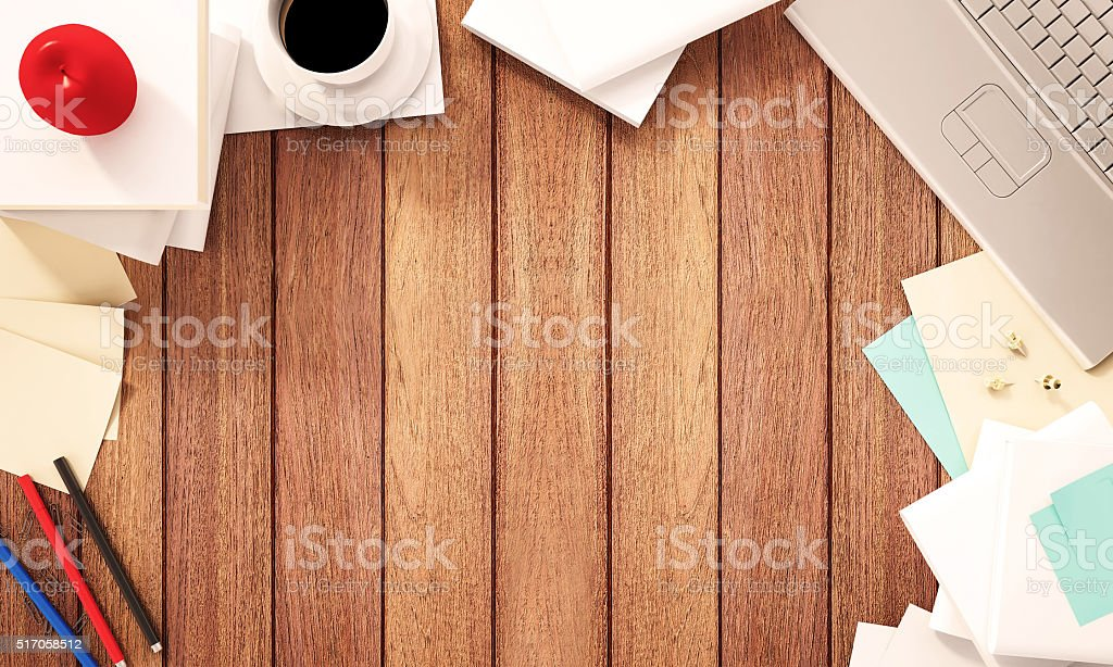 Working space, wooden desk with supplies and copy space stock photo