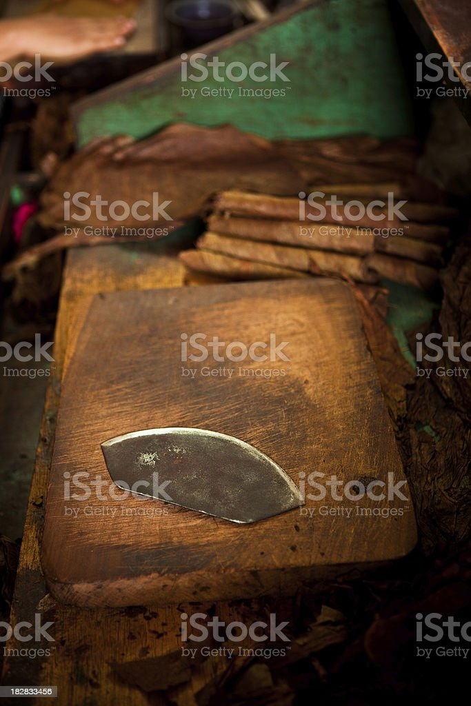 working station of a cigar roller stock photo