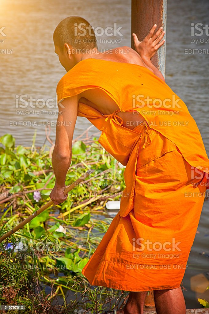 Working thai monk. stock photo