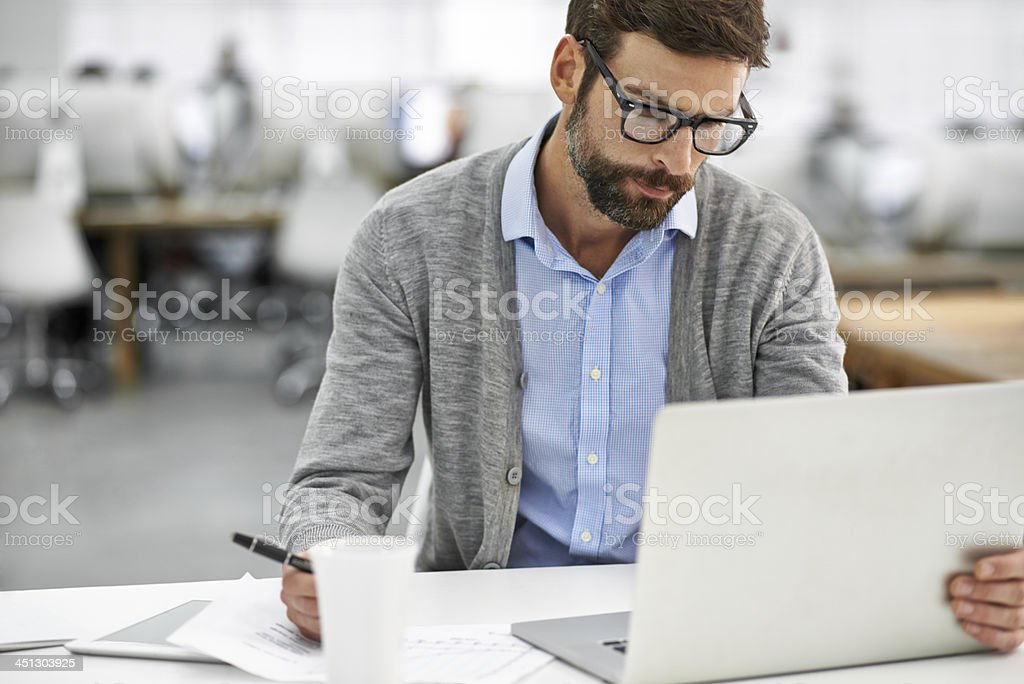 Working through the finer details stock photo