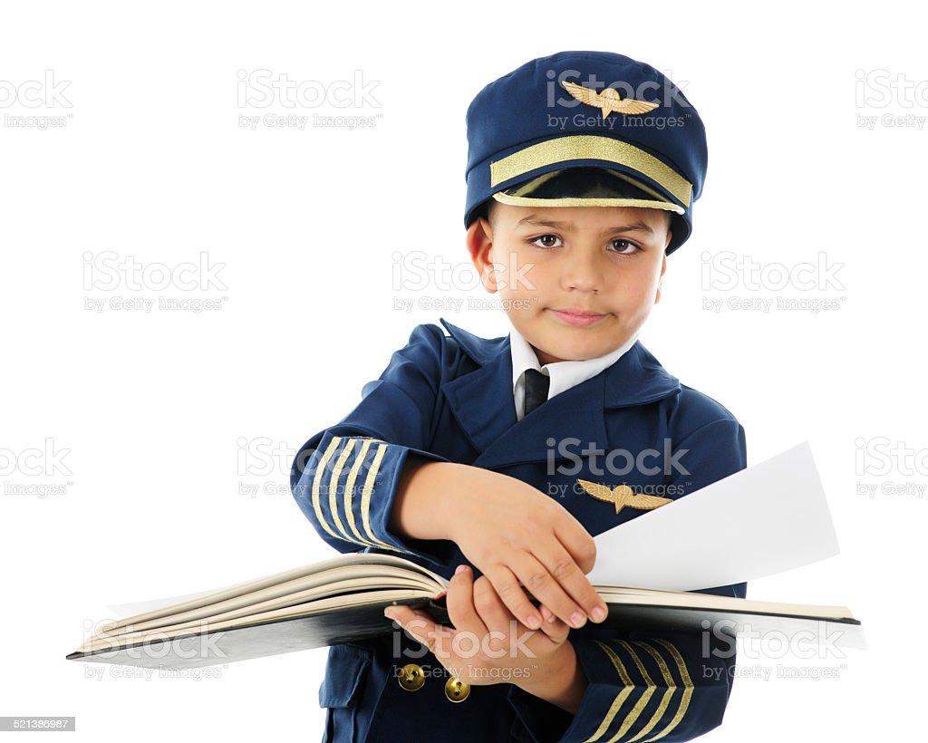 Working through the Pilot's Log Book stock photo