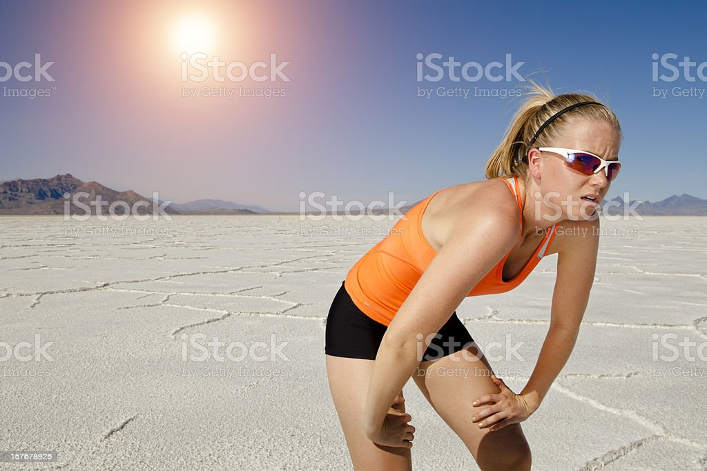 Working thru the heat royalty-free stock photo