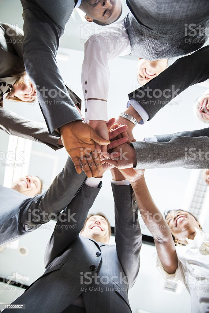 Working together.... hands of business team showing unity royalty-free stock photo