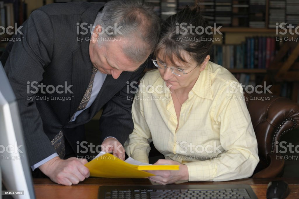 Working together in the office stock photo