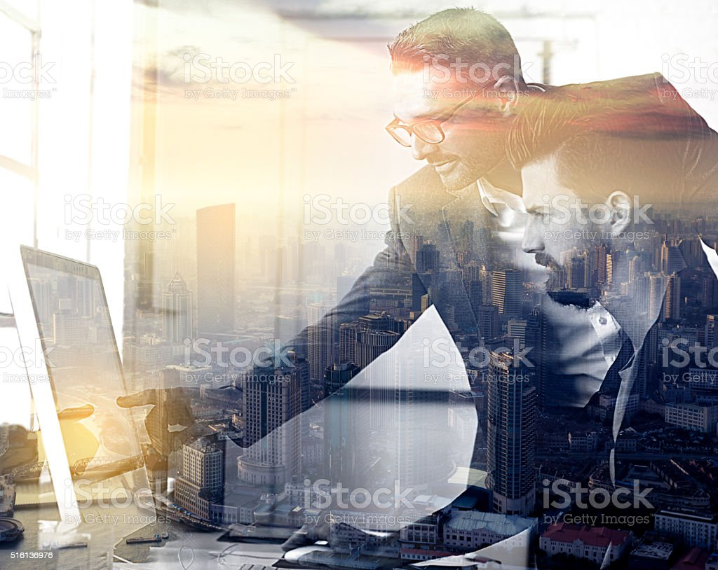 Working together to take over the city stock photo