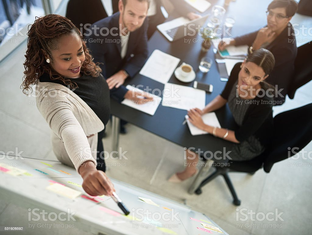 Working together with a clear purpose stock photo